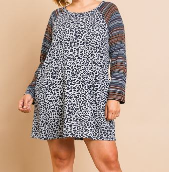 Adrian Animal Print with Striped Sleeve Dress in Navy