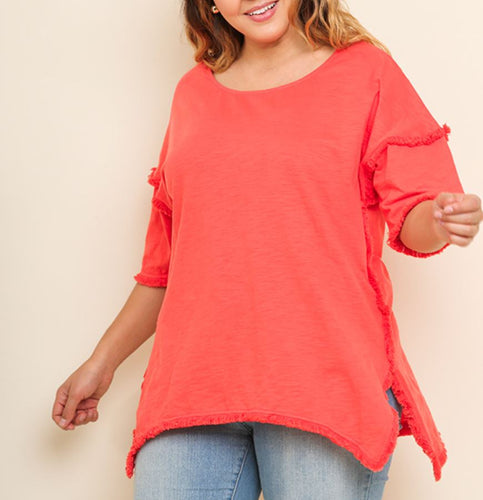 Lindsey High Low Tunic with Fringed Hems
