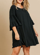 Load image into Gallery viewer, Cammie Ruffle Bell Sleeve Dress with Frayed Hem in Black