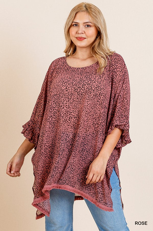 Adeline Animal Print Bell Ruffle Sleeve Tunic