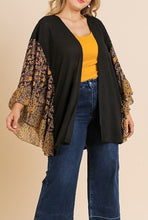 Load image into Gallery viewer, Suri Print Bell Sleeve Waffle Knit Cardigan in Black