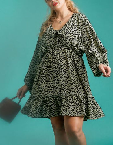 Becca Animal Print Puff Sleeve Dress