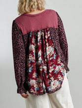 Load image into Gallery viewer, Jodie Floral and Animal Mixed Print Top in Cranberry