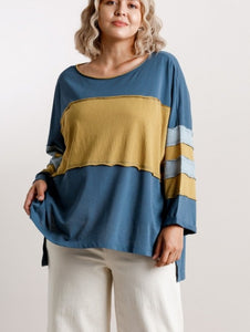 Cameron Colorblock Top with Raw Edged Detail