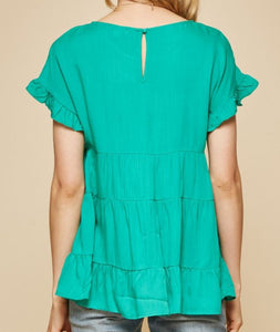 Brianna Babydoll Top in Emerald