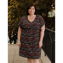 Load image into Gallery viewer, Montrose Midi Dress Wobbly Stripe
