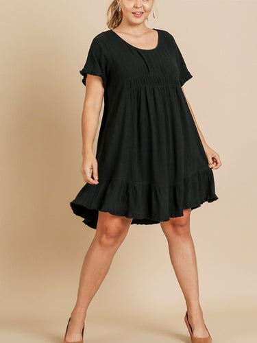 Remi Ruffle Trim Dress with Frayed Edges