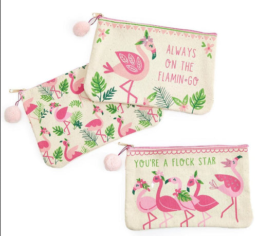 Flamingo Multipurpose Zippered Bag - 3 Designs
