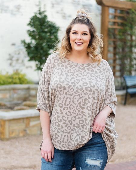 Morgan Leopard Print Dolman Sleeve Knit Top