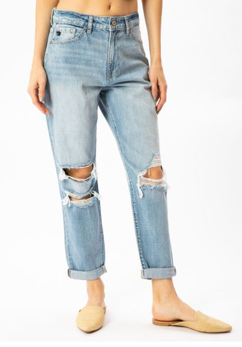 High Rise Cuffed Mom Jeans