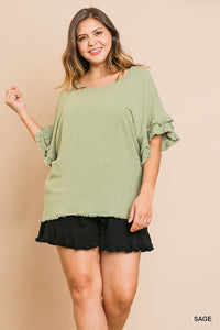 Isabelle Ruffle Short Sleeve Top with Frayed Hem