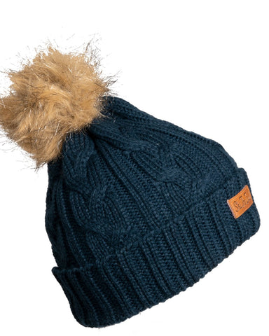 Ski The East Women's Trapper Pom Beanie - Navy