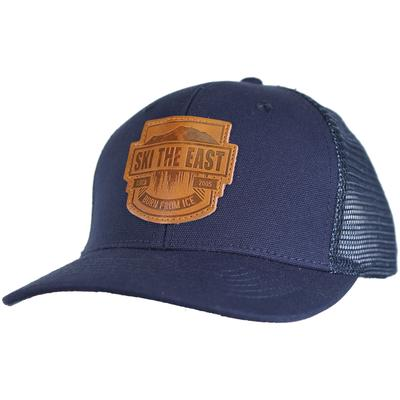 Ski The East Born From Ice Canvas Trucker Hat - Navy