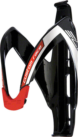 Elite Custom Race Water Bottle Cage: Black Gloss Red Logo