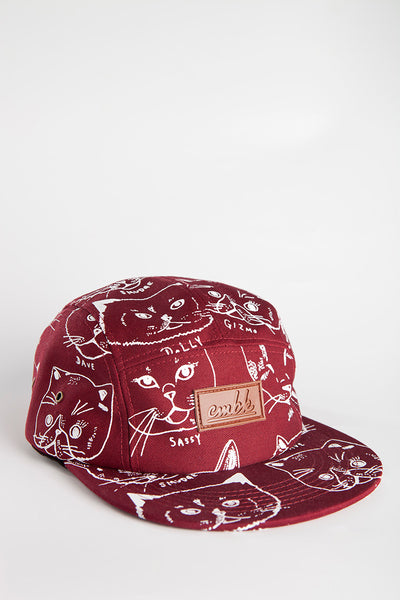CMBK Cat Hat 5 Panel Cap (Burgundy)