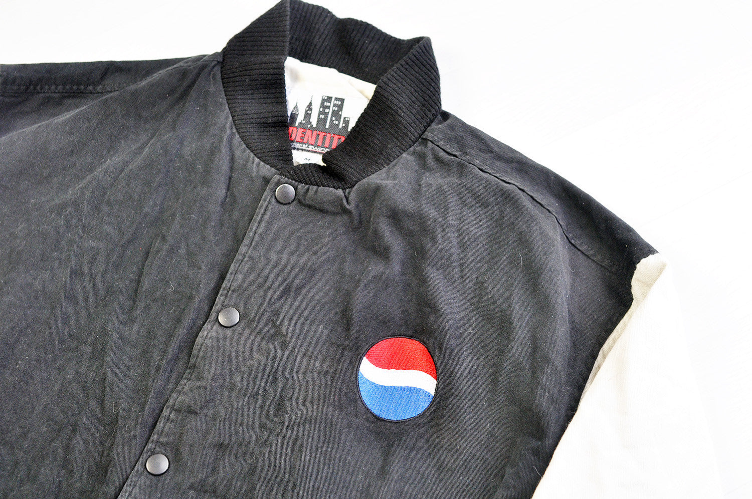 Vintage Pepsi Black/White Cotton Varsity Bomber Jacket