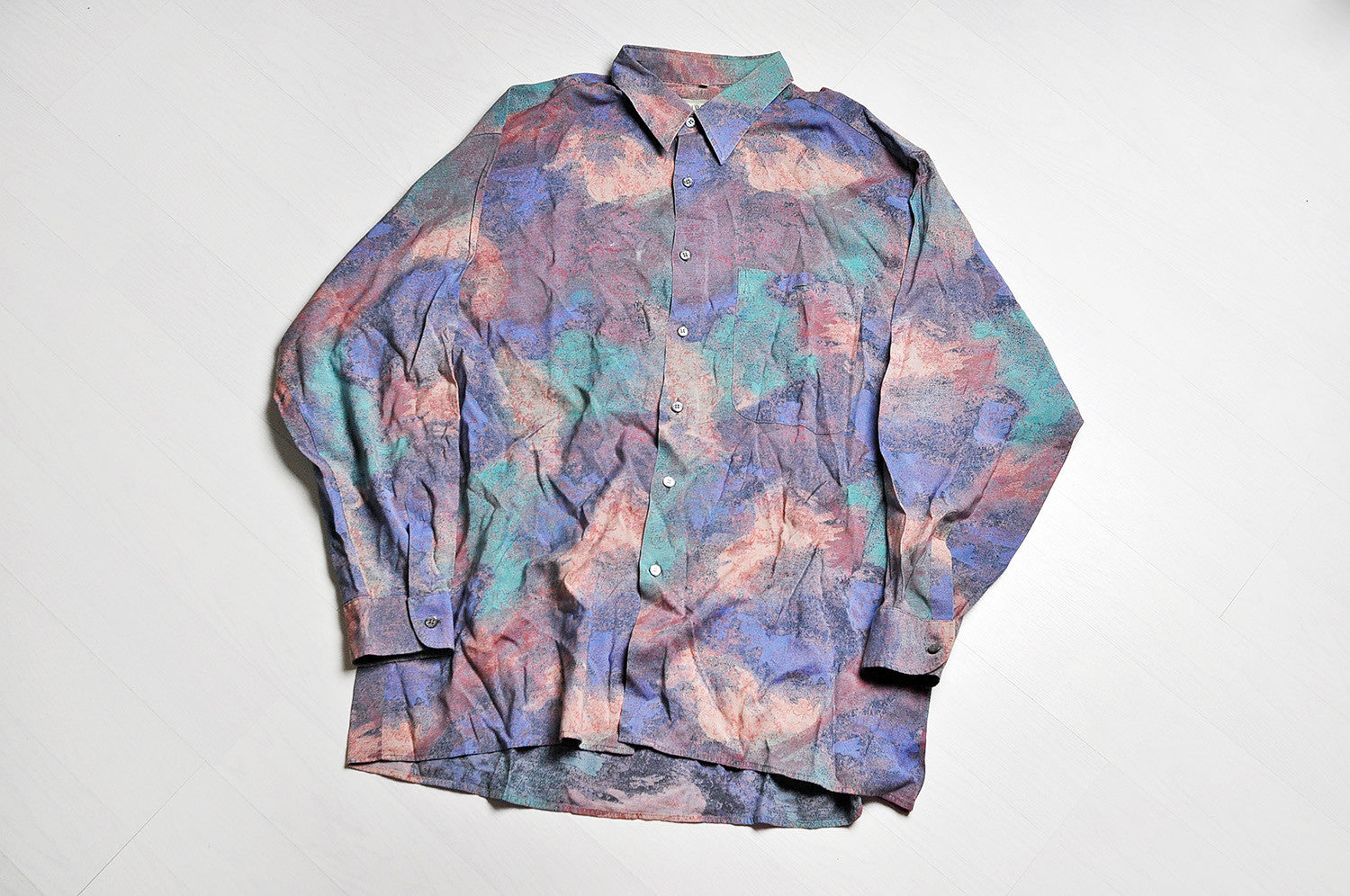 Vintage Crazy Paint Pattern Summer Long Sleeve Purple/Violet Shirt