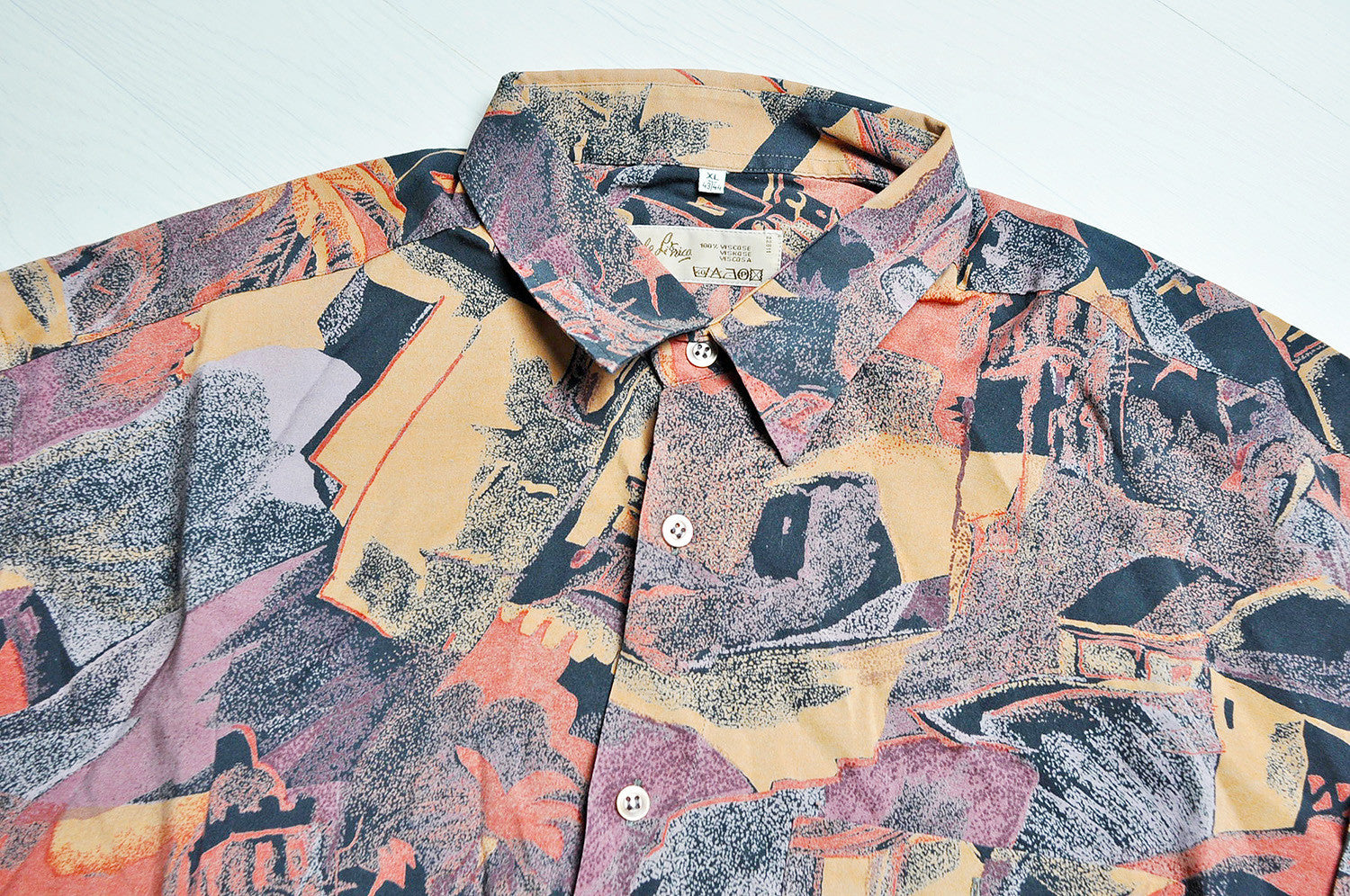 Vintage Crazy Ibiza Pattern Summer Long Sleeve Rustic Coloured Shirt