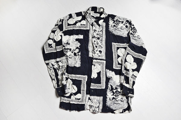 Vintage Crazy Frame Pattern Long Sleeve Black/White Shirt