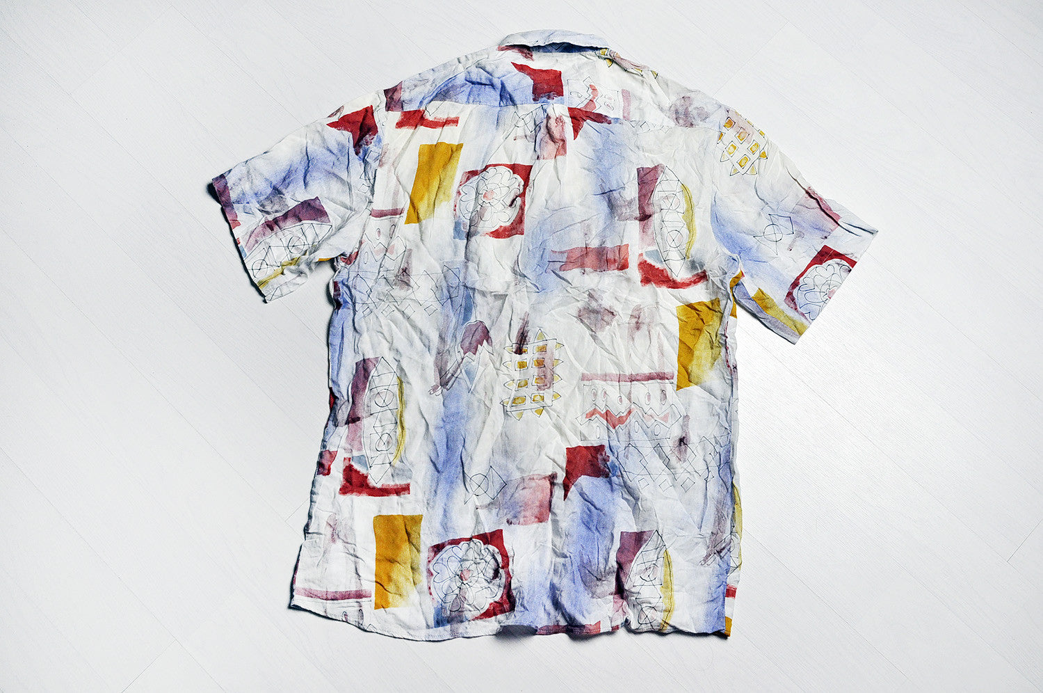 Vintage Crazy Paint Pattern Summer Short Sleeve Biege Shirt