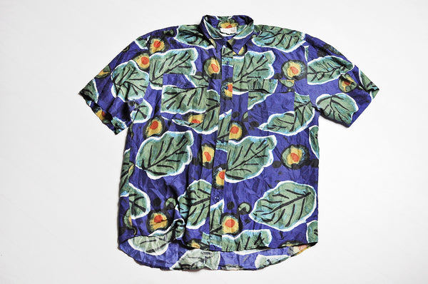 Vintage Crazy Leaf Pattern Summer Short Sleeve Silk Shirt
