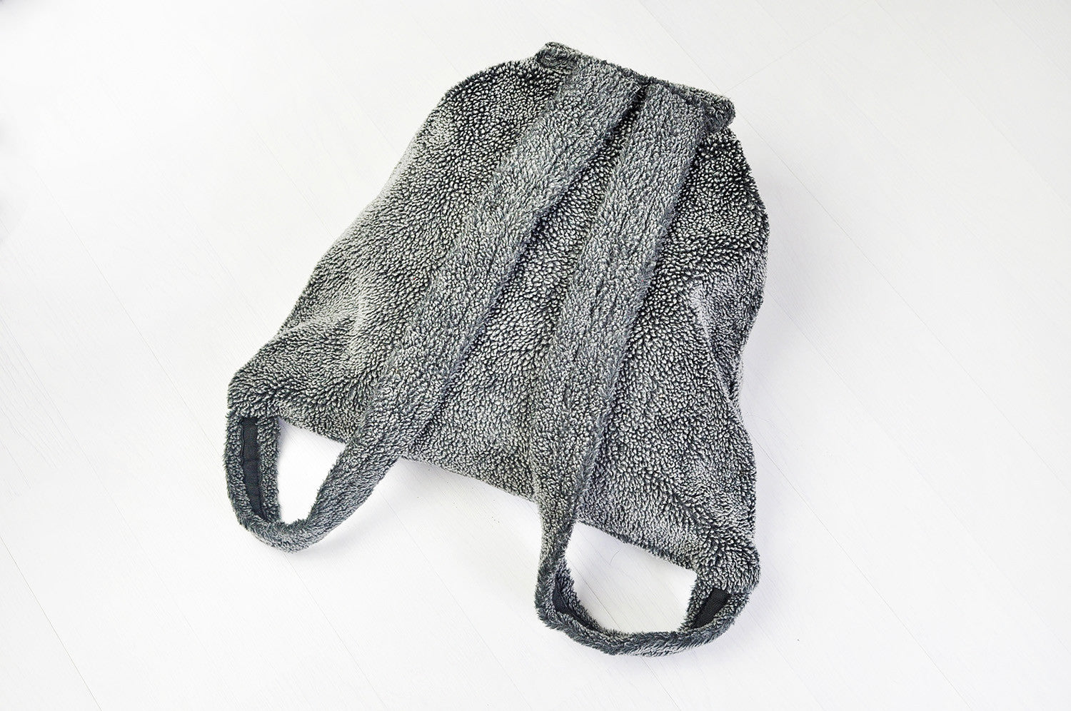 Vintage Super Soft Fur-like Grey Backpack Ruck Sack Bag