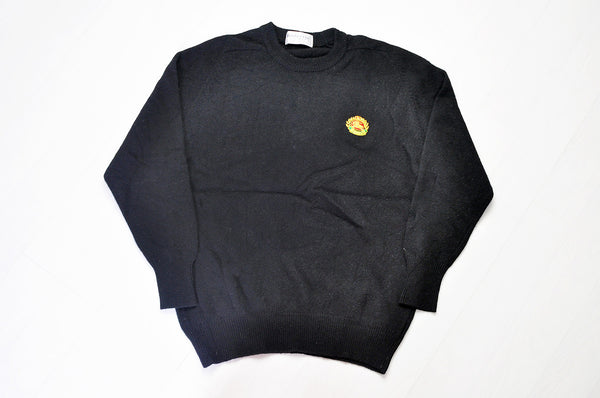 Vintage Burberry Crest Black Lambswool Knit Jumper Sweater