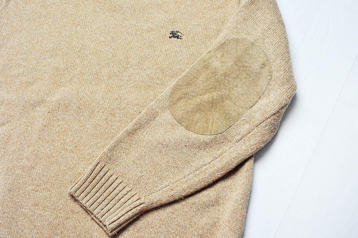 Vintage Burberry Elbow Patched Tanned Knit Jumper Sweater