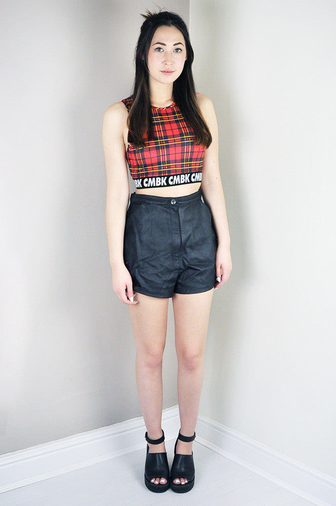 Vintage Black Real Leather Shorts Legs