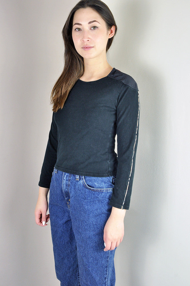Vintage Burberry Classic Black Long Sleeve Panel Top