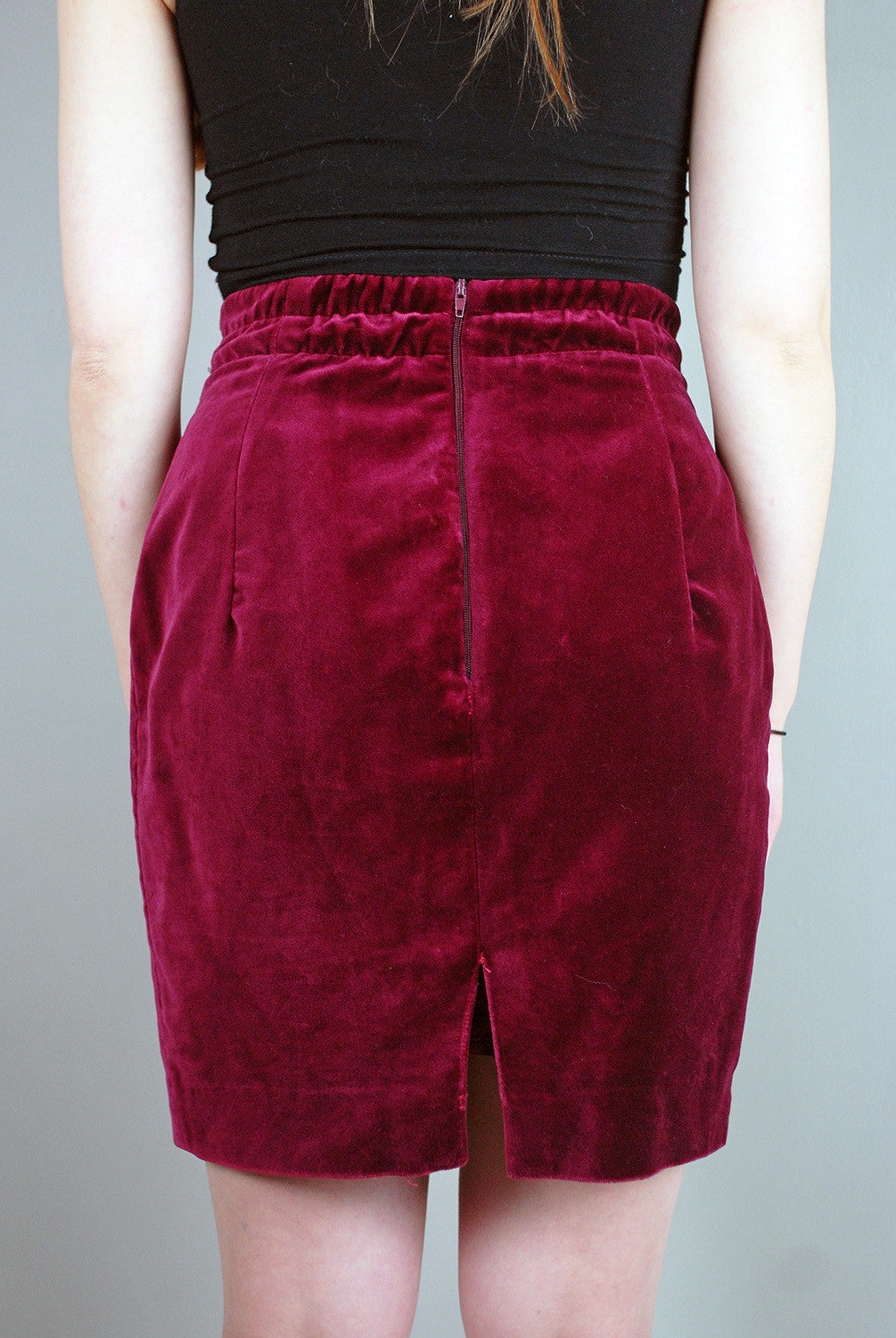 Vintage Burgundy Velvet Look High Waisted Skirt Legs