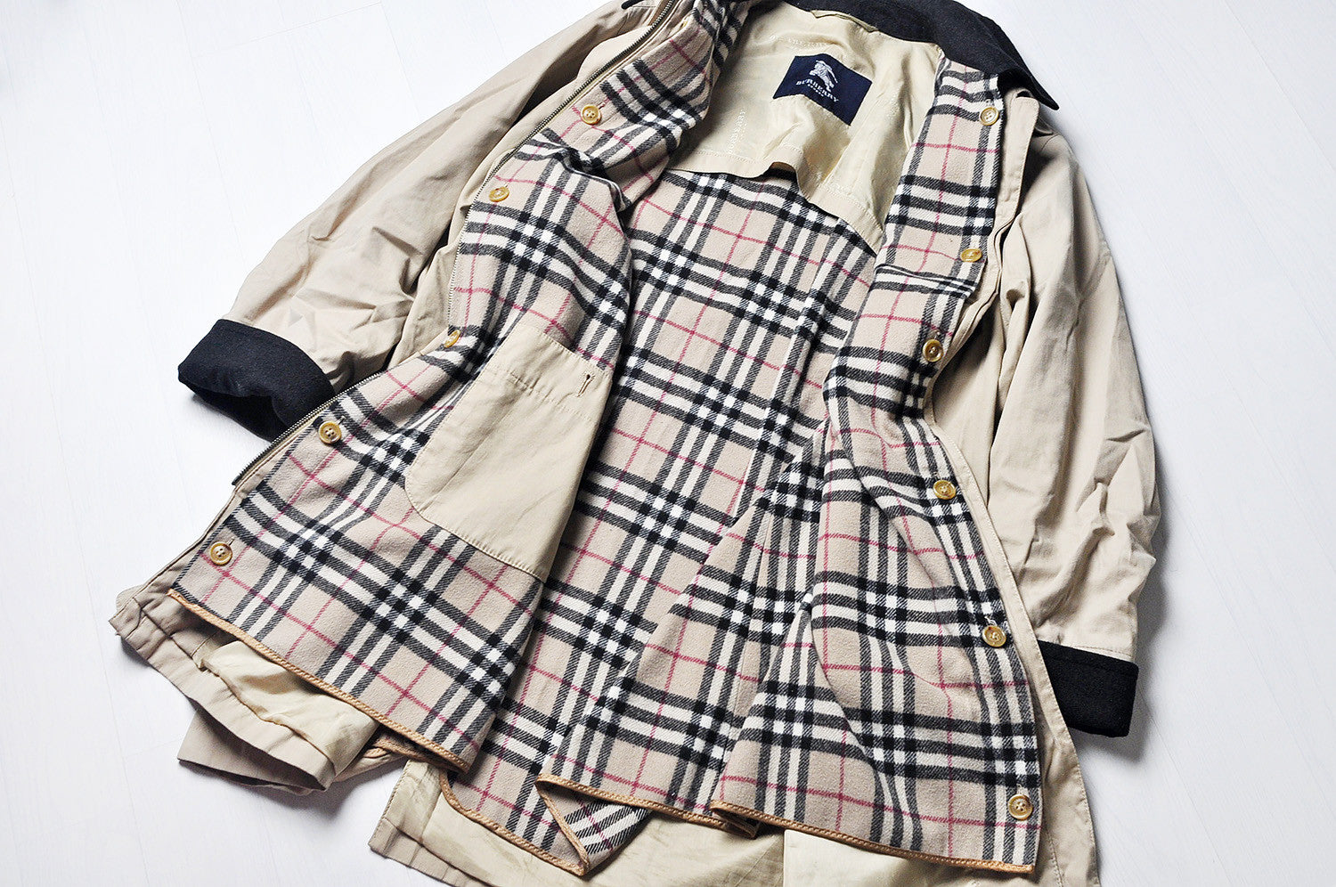 Vintage Burberry Tanned Double Collared Trench/Mac Jacket, Wool Nova Check Inner Layer