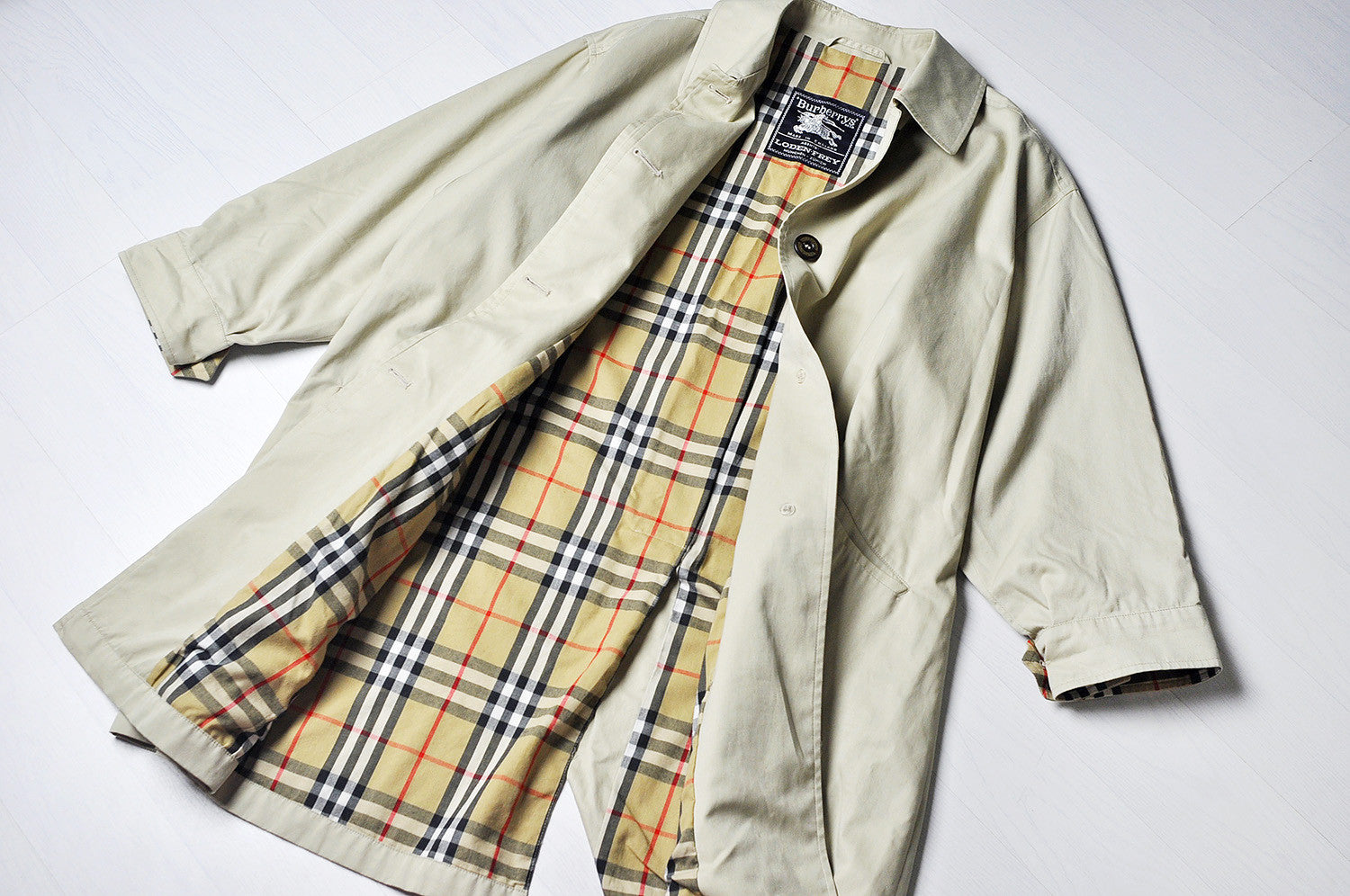 Vintage Burberry Tanned Long Line Trench Nova Check Jacket/Mac Coat