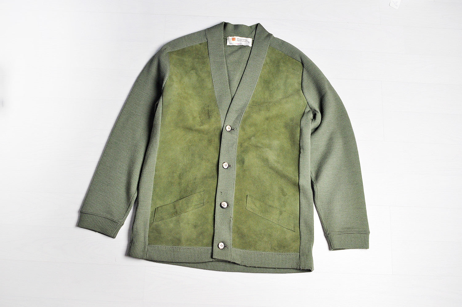 Vintage Khaki Green Suede Panel Raglan Sleeve Knit Cardigan/Sweater