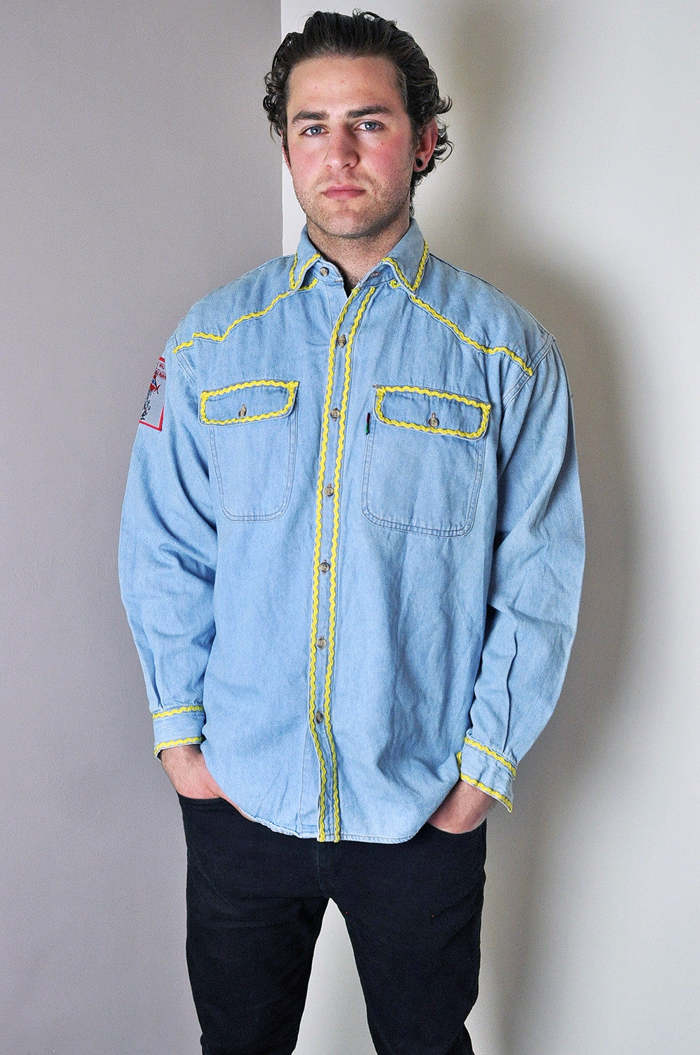 Vintage Western Style Long Sleeve Denim Shirt with Patches