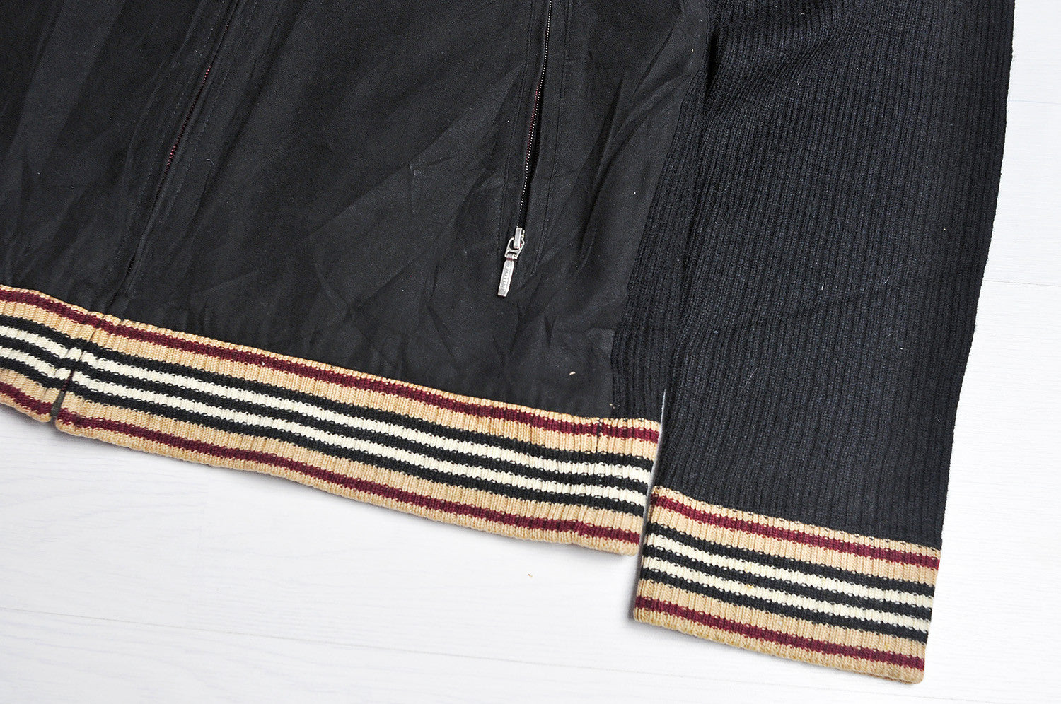 Vintage Burberry (Black Label) Raglan Half Knitted Bomber Jacket