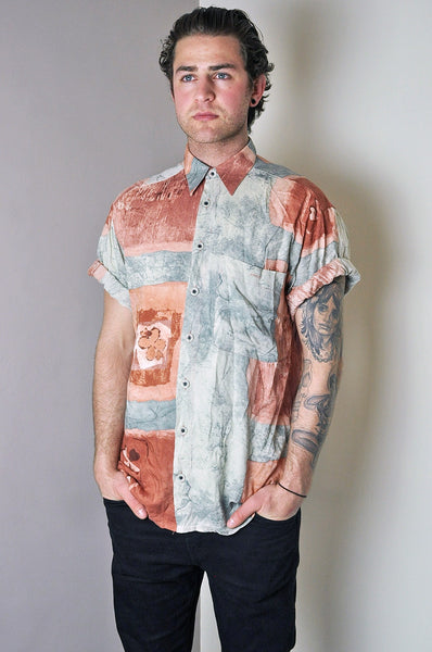 Vintage Rustic Patterned Summer Short Sleeve Shirt