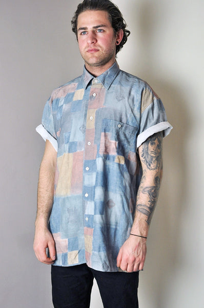 Vintage Patterned Block Colour Short Sleeve Summer Shirt