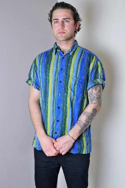 Vintage Crazy Blue/Green Striped Pattern Short Sleeve Shirt