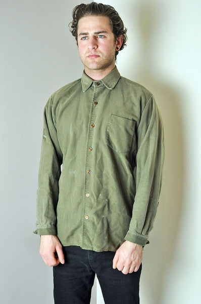 Vintage Barbour Khaki Green Button Up Long Sleeve Shirt