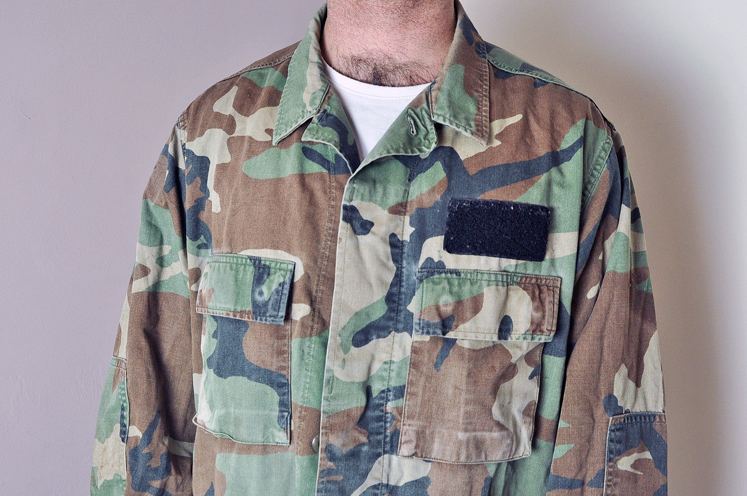 Vintage Army Woodland Camo Heavy Over Shirt/Jacket