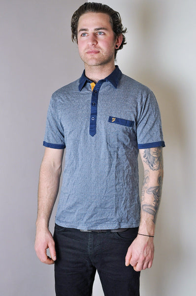 Vintage Farah Navy Weave Patterned Short Sleeve Polo Shirt