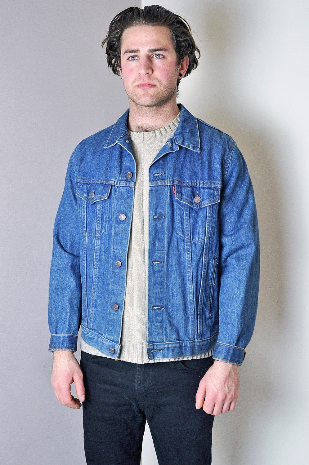 Vintage Levis Classic Washed Blue Denim Jacket (Red Tab)