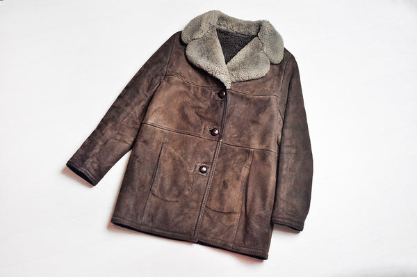 Vintage Dark Brown Shearling Suede Winter Suede Jacket