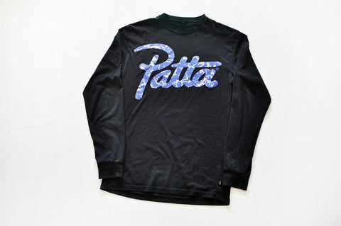 Patta Electric Blue Script Black Long Sleeve Tee