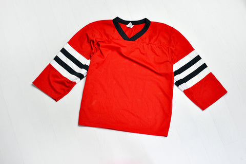 Vintage White & Black Stripped Sleeve Mesh Red Jersey Top