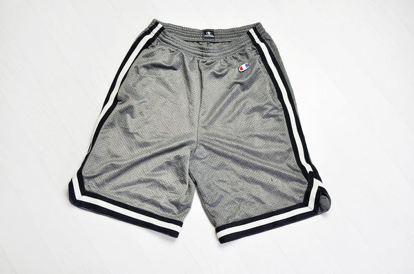 Vintage Champion Grey/Black Trim Basketball Mesh Legs Shorts