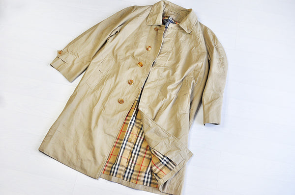 Vintage Burberry Nova Checked Raglan Sleeve Tanned Mac/Trench Coat Jacket