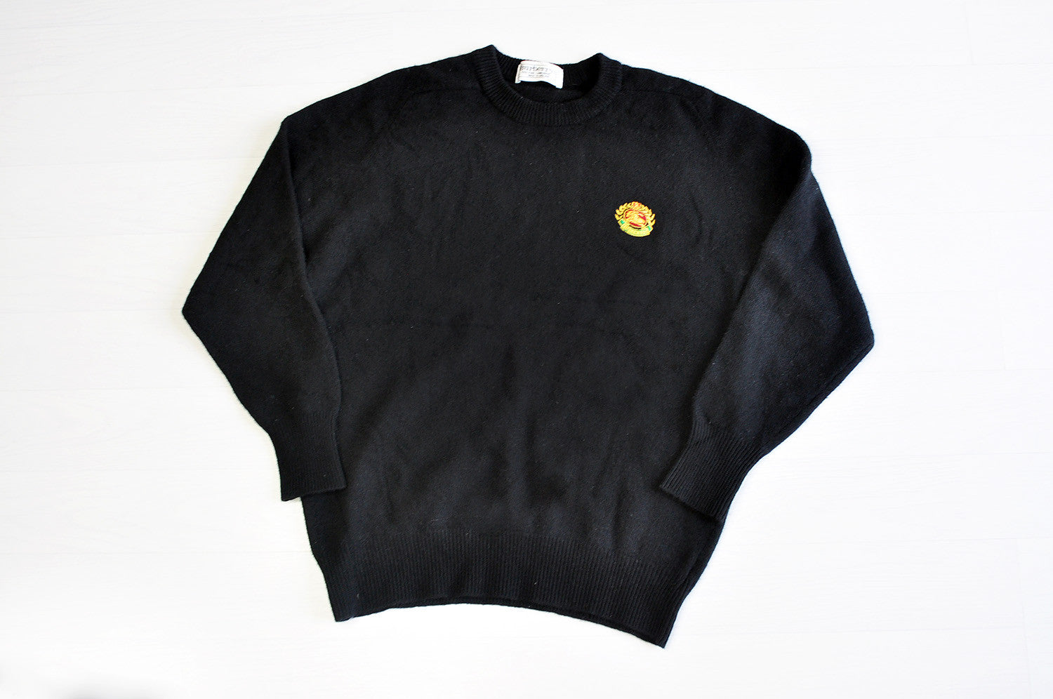 Vintage Burberry Embroidery Pure Lambswool Black Knit Jumper/Sweater