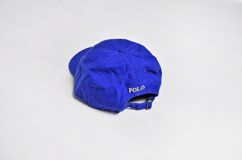 Vintage Ralph Lauren Polo Blue/Yellow Pony 6 Panel Cap/Hat
